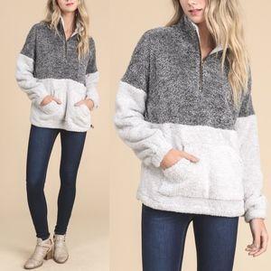 PRE-ORDER GEORGIA Fuzzy Sweater - CHARCOAL